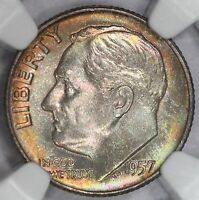 1957 D ROOSEVELT DIME NGC MS67 SUPER NEON RAINBOW TONED COLORFUL TONING 4I
