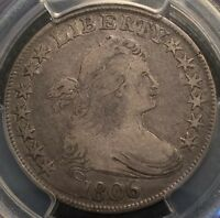 1806 50C POINTED 6, STEM DRAPED BUST HALF DOLLAR PCGS F12 CAC