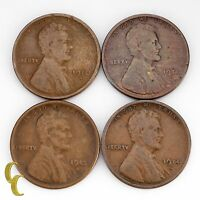 1910-S, 1911-S, 1913-S & 1915-S LINCOLN WHEAT CENTS 1C PENNIES VG CONDITION