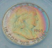 1963 ANACS PF66 FRANKLIN SILVER HALF NICE RAINBOW COLOR TONE GEM MS66 TOUGH PR