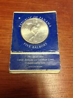 1970 UNC PANAMA 5 BALBOAS SILVER COIN IN MINT CARD LOW MINTAGE