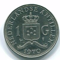 1970 NETHERLANDS ANTILLES 1 GULDEN NICKEL COLONIAL COIN S11900