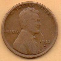 1913 SAN FRANCISCO CIRCULATED COPPER  LINCOLN CENT ONE PENNY