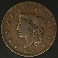 1836 LARGE CENT CORONET HEAD NICE EVEN CHOCOLATE BROWN  8569