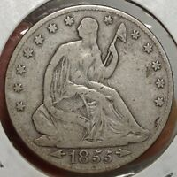 1855 O SEATED LIBERTY HALF DOLLAR  WITH ARROWS TYPE COIN    0906 10