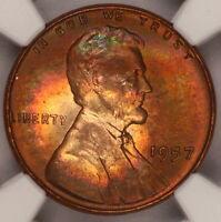 1957 P LINCOLN CENT NGC MS65RB WHEAT PENNY NICELY RAINBOW COLOR TONED Z67