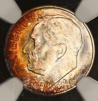 1947 S ROOSEVELT DIME NGC MS67 BLAZING FIRE INFERNO TONED COLORFUL TONING 2J