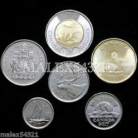 CANADA 2017 COMPLETE CLASSIC COIN SET 5 CENTS TO 2 DOLLARS UNC  6 COINS