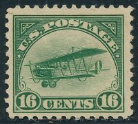 DR JIM STAMPS OLD US AIR MAIL SCOTT C2 16C CURTISS JENNY UNUSED OG HINGED