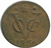 1766 VOC 1 DUIT HOLLAND NETHERLANDS EAST INDIES COLONIAL VOC1204.8US