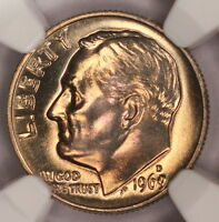 1969 D ROOSEVELT DIME NGC MS67 SUPERB GEM RAINBOW COLOR TONED Z131