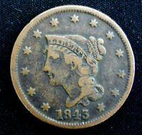 1843 LARGE CENT WITH BRAIDED HAIR