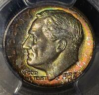 1957 D PCGS MS67 FB ROOSEVELT DIME FULL BANDS COLORFUL 90 SILVER COIN SHIP FREE