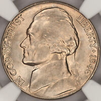 1946 D JEFFERSON NICKEL NGC MS65 SLAB SUPERB WHITE GEM BEAUTIFUL LUSTER L17