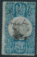 DR JIM STAMPS OLD US REVENUE SCOTT R125 $3 DOCUMENTARY USED NO RESERVE