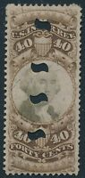 DR JIM STAMPS OLD US REVENUE SCOTT R141 40C DOCUMENTARY USED PUNCHED