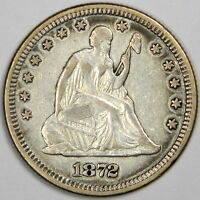 1872 SEATED QUARTER   BOLD XF WITH NICE AND ORIGINAL COLOR   PRICED RIGHT