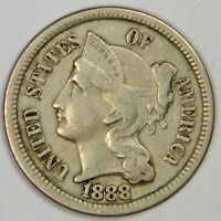 1888 THREE CENT NICKEL 3CN   NICE AND BOLD VF   PROBLEM FREE & PRICED RIGHT