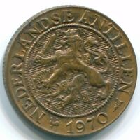 1970 NETHERLANDS ANTILLES 1 CENT FISH BRONZE COLONIAL COIN S10832