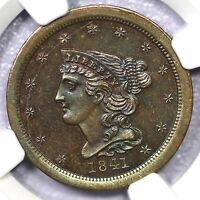 1841 RESTRIKE NGC PF 66 BN BRAIDED HAIR HALF CENT COIN 1/2C