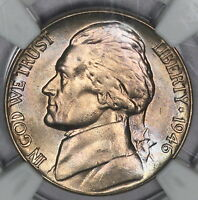 1946 D JEFFERSON NICKEL NGC MS65 COLORFUL RAINBOW ALBUM TONED GREAT GEM PQ R16