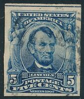 DR JIM STAMPS OLD US SCOTT 315 5C LINCOLN IMPERFORATE USED THIN NO RESERVE