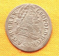 LATE MEDIEVAL HUNGARIAN COIN   LEOPOLD SILVER POLTURA 1700.