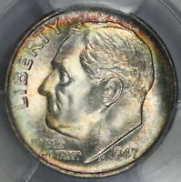 1947 S ROOSEVELT DIMEL PCGS MS66 RAINBOW TONED COLOR WOW COIN P5
