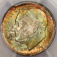 1947 S ROOSEVELT DIME PCGS MS66 PLUS SUPER GEM RAINBOW COLOR TONED U15