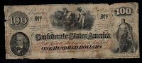 CONFEDERATE STATES OF AMERICA  100  DOLLARS 1862  PICK  45 VG.