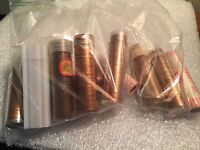 COLLECTERS LOT OF 10 BU ROLLS OF EARLY DATE LINCOLN MEMORIAL CENTS 1959D 73D