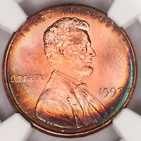 1993 P LINCOLN CENT NGC MS66RB MEMORIAL PENNY RAINBOW COLOR TONED Z199