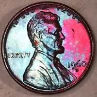 1960 D LINCOLN MEMORIAL CENT PENNY BU MINT CONDITION MONSTER MULTI COLOR TONED