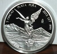 ONLY 1600 MINTED PROOF VERSION 2015 BU 5 OZ MEXICAN LIBERTAD ROUND COIN