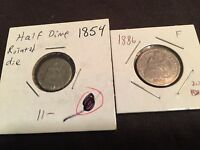 SEATED LIBERTY DUO   1854 HALF DIME AND 1886 DIME