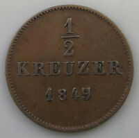 GERMAN STATES 1/2 KREUZER 1849 OVER 7 WURTTEMBERG   T1 507
