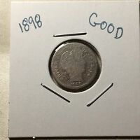 1898 US. SILVER BARBER DIME / GOOD