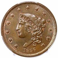 1836 N 2 R 2 PCGS MS 65 BN CAC MATRON OR CORONET HEAD LARGE CENT COIN 1C