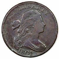 1801 S 224 DRAPED BUST LARGE CENT COIN 1C