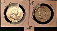LOT OF 2 1951 AND 51S FRANKLIN 90 SILVER HALF DOLLARS EF/AU ITEM165