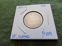 1857 O LIBERTY SEATED SILVER QUARTER NEW ORLEANS MINT 25 CENT COIN