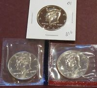 2001 P D & S KENNEDY HALF DOLLARS   UNCIRCULATED & PROOF
