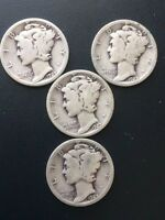 1927 10C MERCURY DIME LOT OF 4