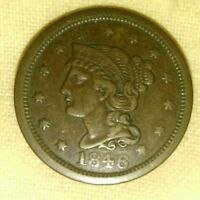 1846 N 1 R 1 SMALL DATE BRAIDED HAIR LARGE CENT 1C V105