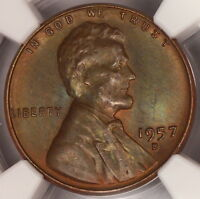 1957 D LINCOLN CENT NGC MS66BN WHEAT PENNY NICELY RAINBOW COLOR TONED Z81