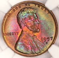 1957 D LINCOLN CENT NGC MS66 RB WHEAT PENNY MONSTER RAINBOW COLOR STAR TONE B17