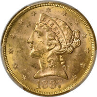 1887 S PCGS MS 63 LIBERTY HEAD HALF EAGLE $5   TYPE 2 WITH MOTTO