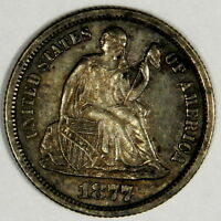 1877-CC SEATED LIBERTY DIME -  ORIGINAL AU ABOUT UNCIRCULATED PRICED RIGHT