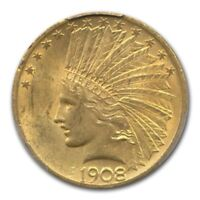 1908 $10 INDIAN GOLD EAGLE W/MOTTO MS 62 PCGS