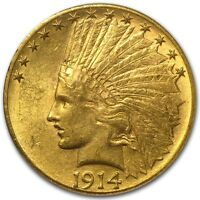 1914 D $10 INDIAN GOLD EAGLE MS 62 PCGS